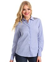 TWO by Vince Camuto - Blue Stripe Western Shirt w/ Pyramid Studs