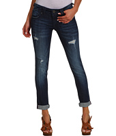 VIGOSS - Boyfriend Destructed Double V Crop in Medium Wash