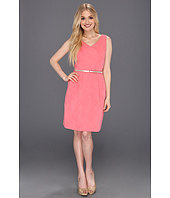Ellen Tracy - Jacquard Fit And Flare Dress w/Belt