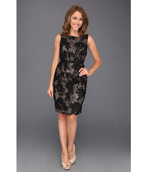 calvin klein sheath dress with floral inspired applique