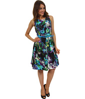 Ellen Tracy - Sleeveless Printed Fit And Flare Dress