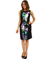 Ellen Tracy - Sleeveless Mixed Media Floral Print Dress