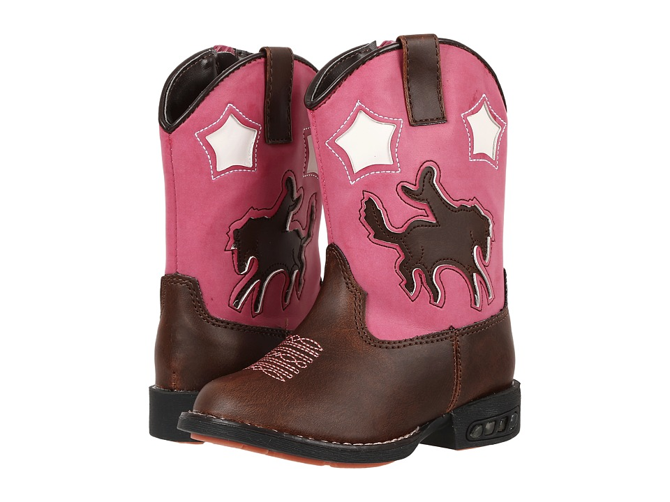 Roper Kids Western Lights Cowboy Boots (Toddler) (Brown/Pink) Cowboy Boots