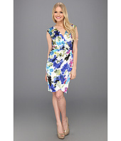 London Times - Mock Wrap Printed Sheath Dress
