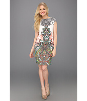 London Times - Cap Sleeve Printed Sheath Dress