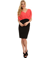 Suzi Chin for Maggy Boutique - Cap Sleeve V-Neck Rouched Twofer Dress