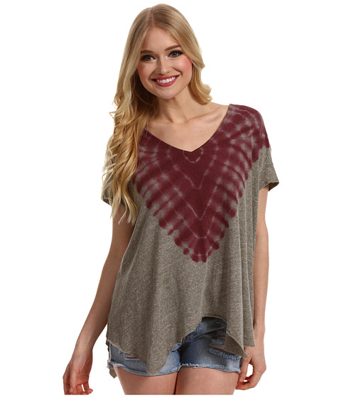 Free People - Double Team Tee (Fatigue/Berry Combo) - Apparel