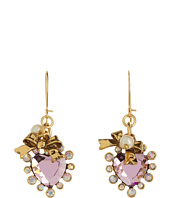 Betsey Johnson - Crystal Small Heart Drop Earrings