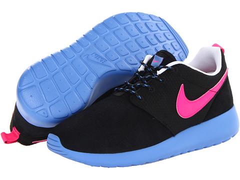 roshe run black blue pink