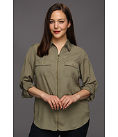 MICHAEL Michael Kors Plus - Plus Size Dogtag Zip Camp Shirt