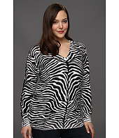 MICHAEL Michael Kors Plus - Plus Size Zebra Inside Out L/S Sweater