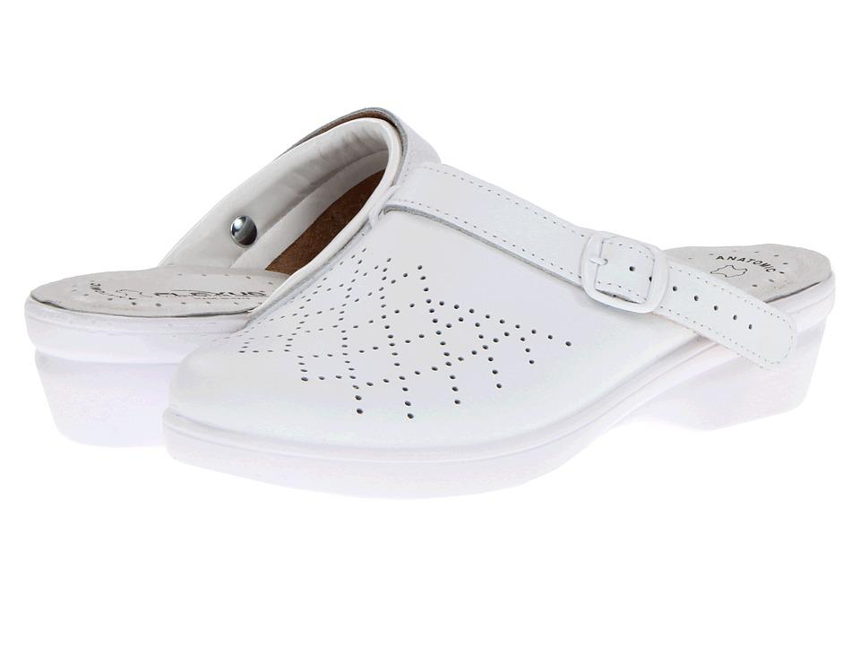 Flexus Pride White Leather Womens Clog Shoes