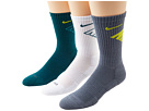 Nike - Dri-Fit Fly Crew 3-Pair Pack (Dark Sea/(Volt)/White/(Dark Sea)/Armory Slate/(Volt))