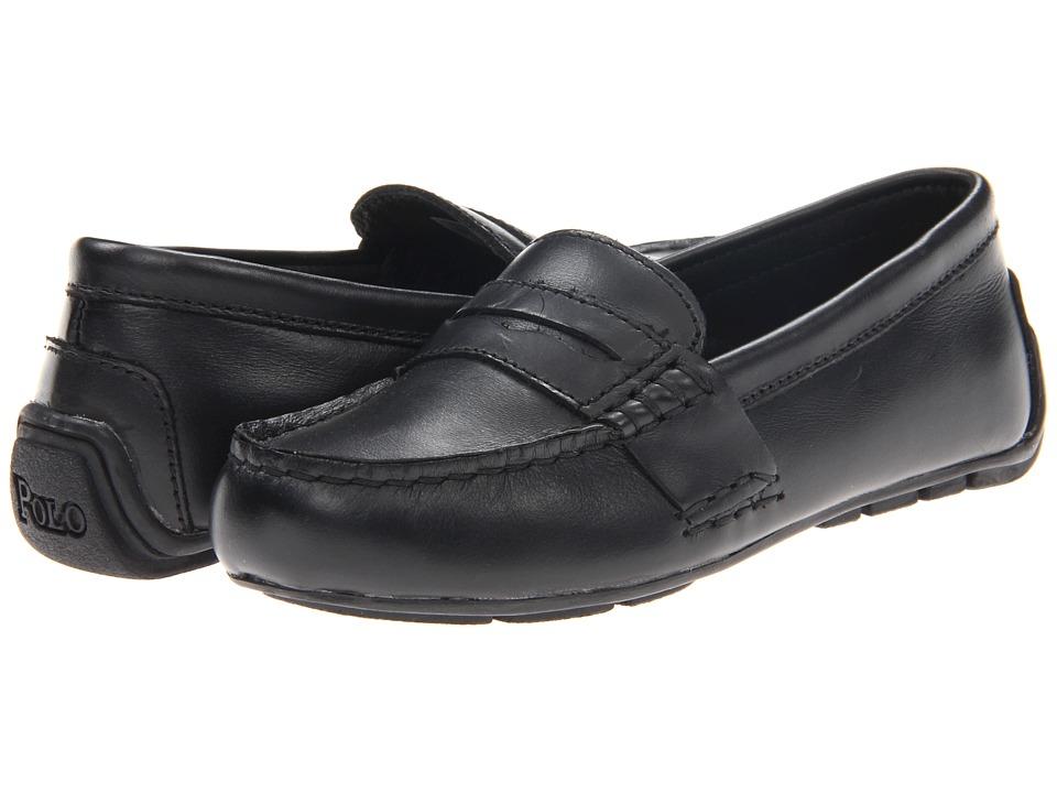 Polo Ralph Lauren Kids - Telly (Little Kid) (Black Full Grain Leather) Boys Shoes