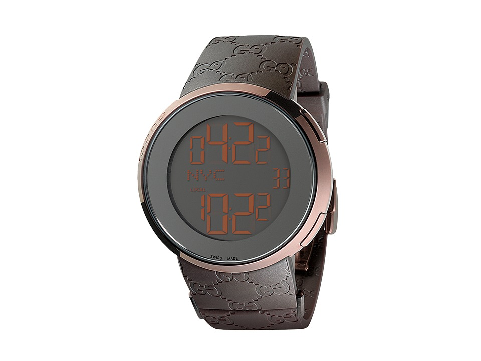 Gucci I Gucci 44mm Digital Rubber Strap Watch YA114209 Brown Watches