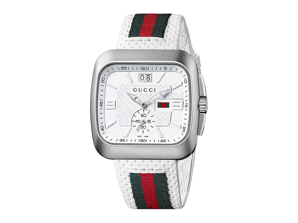 Gucci - Coupe 40mm Perforated Leather Strap Watch-YA131303