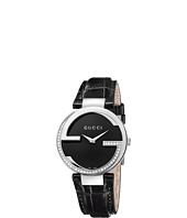 Gucci - Interlocking 37mm Crocodile Leather Strap w/ Diamonds Watch-YA133305
