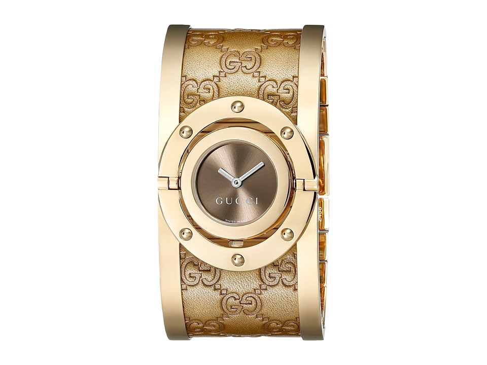 Gucci Twirl 23.5mm Bangle Watch YA112434 Gold/Brown Watches