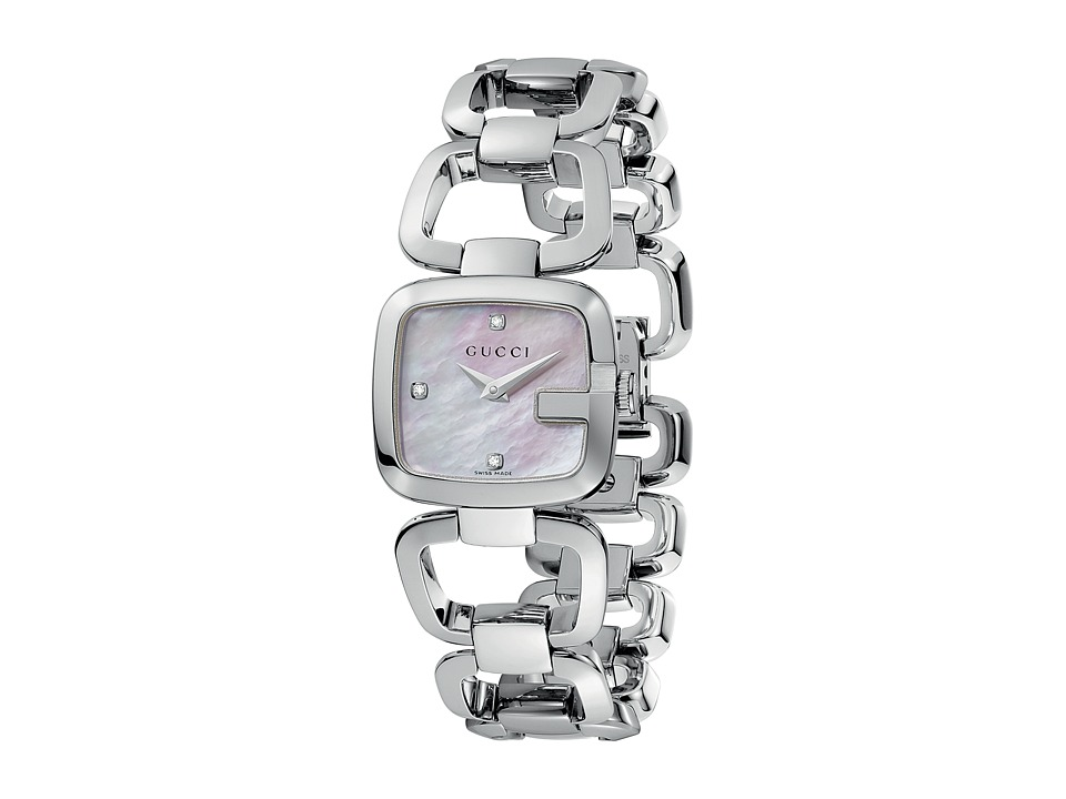 Gucci - G-Gucci 24mm Stainless Steel Bracelet with Diamonds Watch-YA125502 (Stainless Steel/Mother Of Pearl) Watches