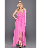 Jessica Simpson - Halter Blouson Maxi Dress with Asymmetrical High Low Hem