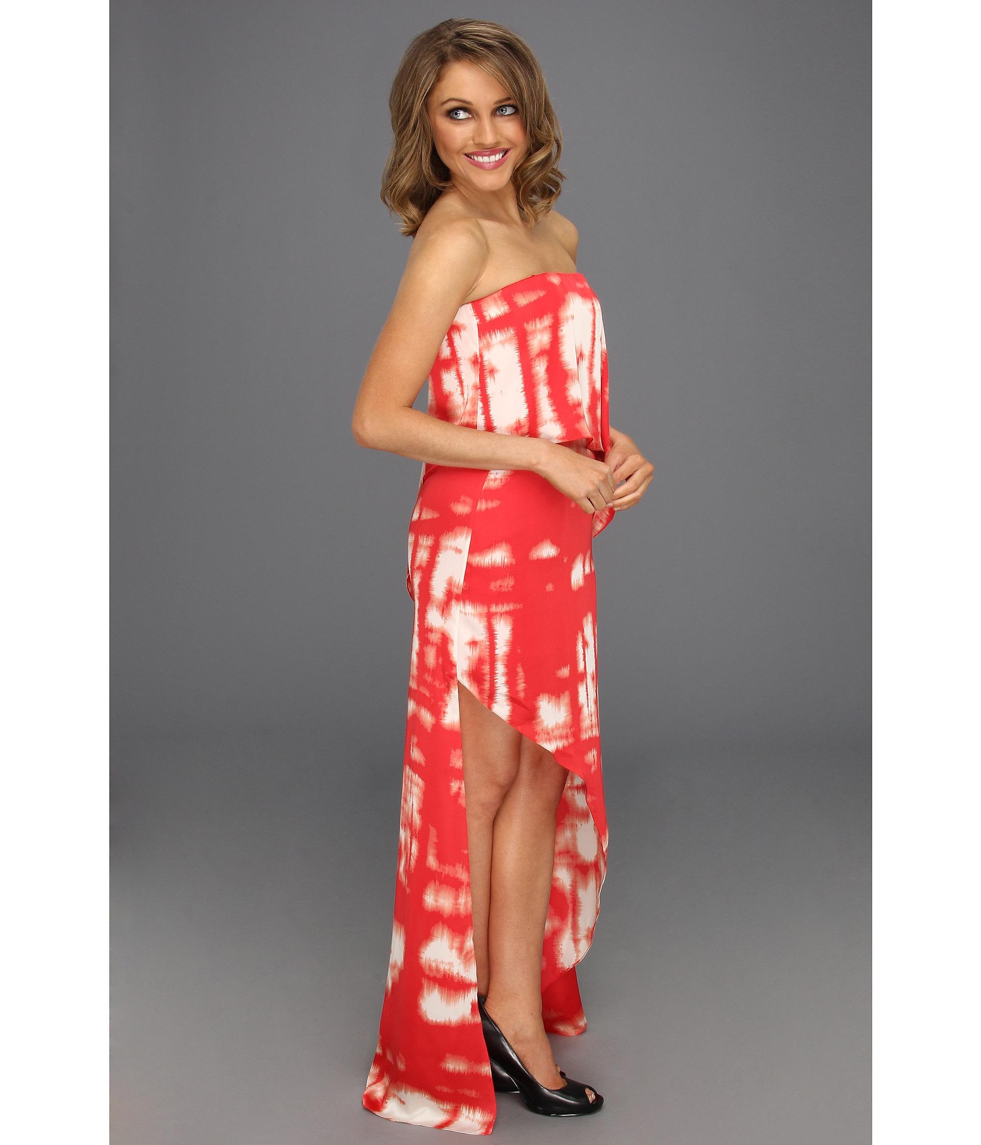 BCBGMAXAZRIA Daniella Strapless Drape Gown Cranberry Combo
