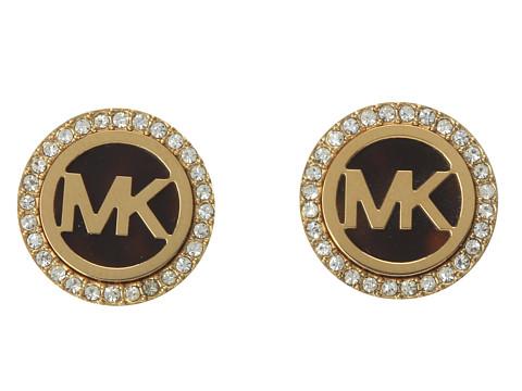 Michael Kors MK Logo Stud Earrings - Tort/Gold