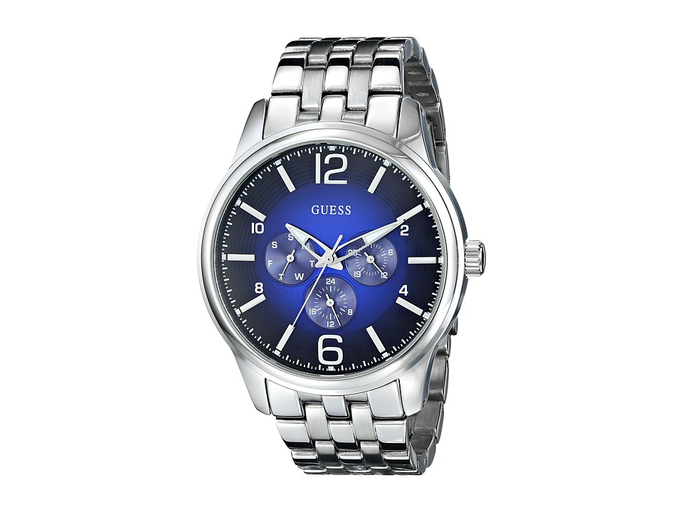 GUESS - U0252G2 Analog Display Quartz Watch (Silver/Blue) Watches