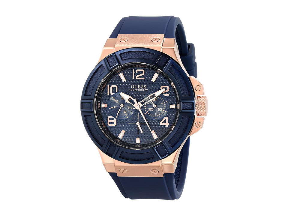 GUESS - U0247G3 Rigor Standout Sport Casual Watch (Blue/Rose Gold) Chronograph Watches