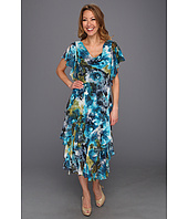 Jessica Howard - Flutter Sleeve Drape Neck Dress
