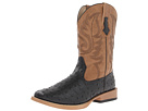 Roper Ostrich Print Square Toe Cowboy Boot (Black Faux Leather/Western Stitch)
