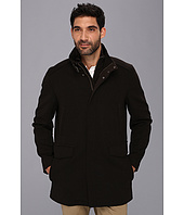 Cole Haan - Italian Twill Car Coat w/ Bib and Leather Trim