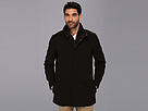 Cole Haan Italian Twill Car Coat w/ Bib and Leather Trim