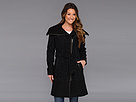 Cole Haan Asymmetrical Belted Mixed Media Coat