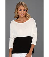 Three Dots - Loose Rayon Colorblock 3/4 Sleeve Boxy Top w/ Slits