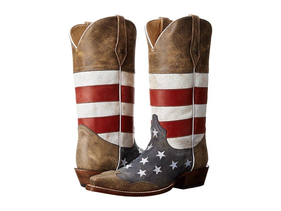 Roper - American Flag Snip Toe (Brown) Cowboy Boots