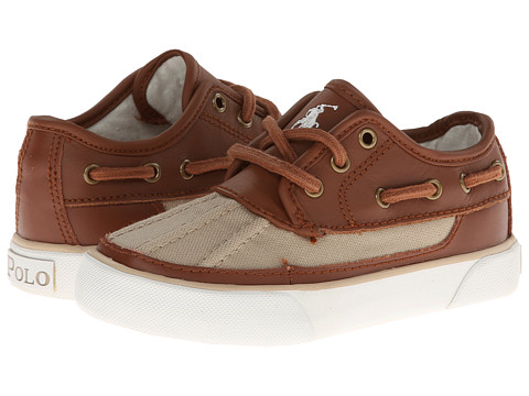 Polo Ralph Lauren Kids - Parkstone Low FA13 (Toddler) (Khaki Canvas/Tan Leather) - Footwear