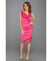Donna Ricco - Sleeveless Spiral Flower Detail Side Shirred Dress