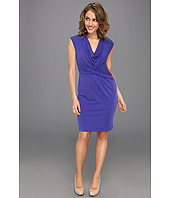 Donna Ricco - Cap Sleeve Cowl Neck Drape Short Dress