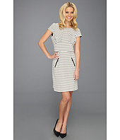 Donna Ricco - Cap Sleeve Jewel Neck Multi Seamed A-Line Dress