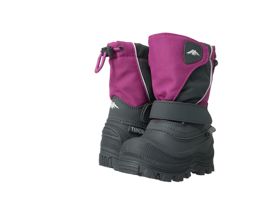 Tundra Boots Kids Quebec Wide (Toddler/Little Kid/Big Kid) (Fuchsia/Charcoal) Girls Shoes