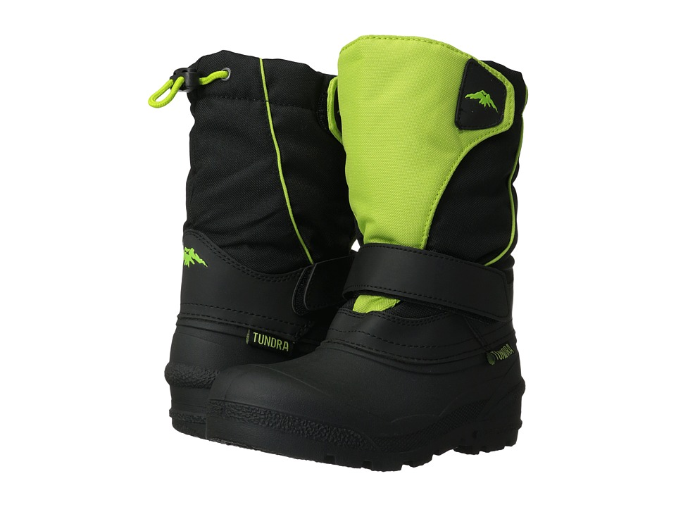 Tundra Boots Kids Quebec (Toddler/Little Kid/Big Kid) (Black/Lime) Kids Shoes