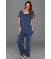Karen Neuburger - 3/4 Sleeve Solid Pleated Pullover with Long Pant Set