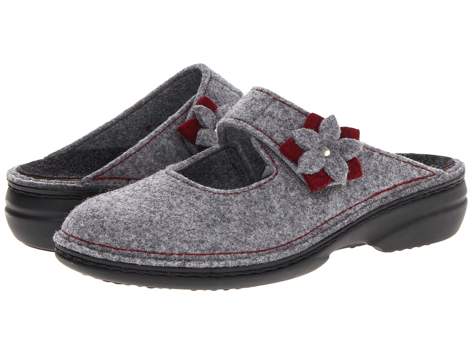 Finn Comfort Arlberg Lightgrey/Cassis Bordo Womens Clog Shoes