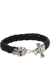 King Baby Studio - Leather Bracelet with Small Day of the Dead Skull Clasp