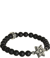 King Baby Studio - Onyx 8mm Bead Bracelet with Alloy Star of David in Silver