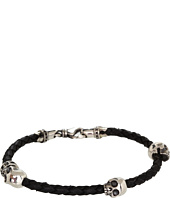 King Baby Studio - Thin Braided Leather Bracelet with Three Hamlet Skulls