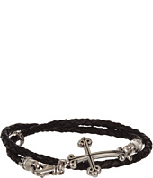 King Baby Studio - Thin Braided Leather Traditional Cross Double Wrap Bracelet