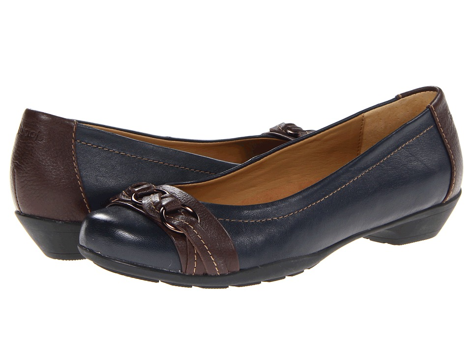 Comfortiva Posie - Soft Spots (Navy/Chocolate Velvet Sheep Nappa) Slip-On Shoes