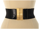 LAUREN Ralph Lauren Stretch Belt With Patent Tabs Engine Turn Clip Lock Closure