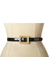 LAUREN Ralph Lauren - Pearlized Patent Belt With Two-Tone Centerbar Buckle